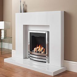 Modern fireplace surround with porcelain white marble | Andrea's ...