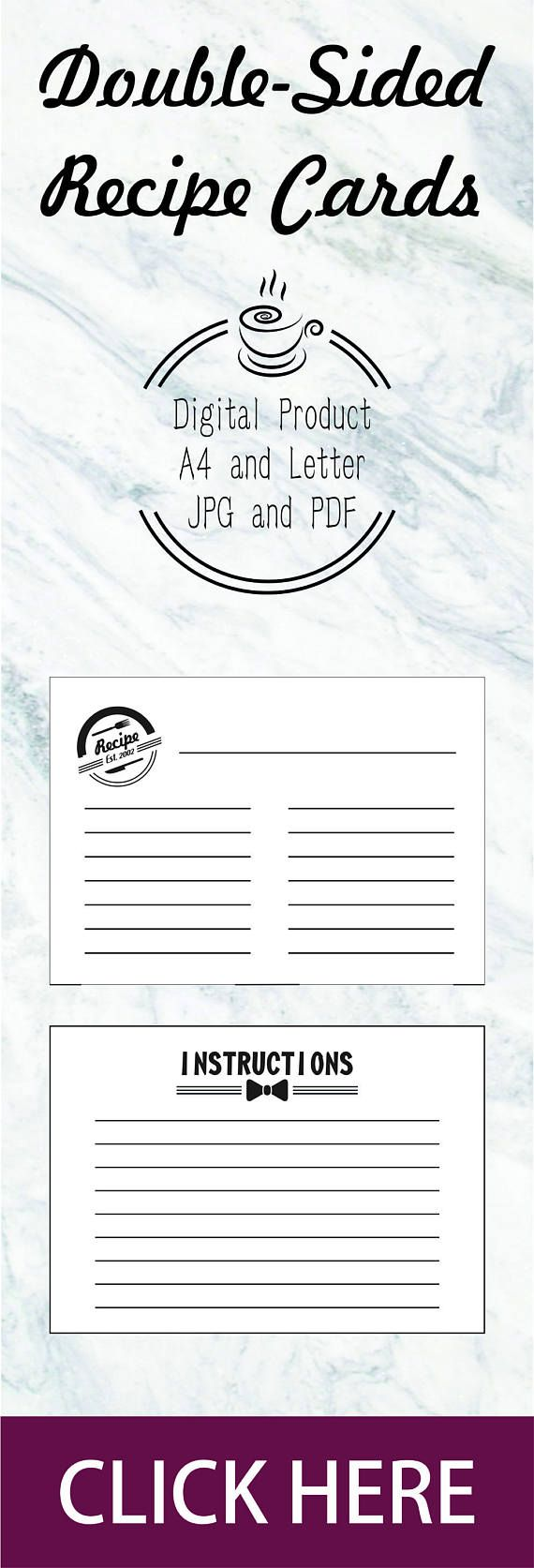 Double Sided Recipe Cards Printable Recipe Cards Template Recipe
