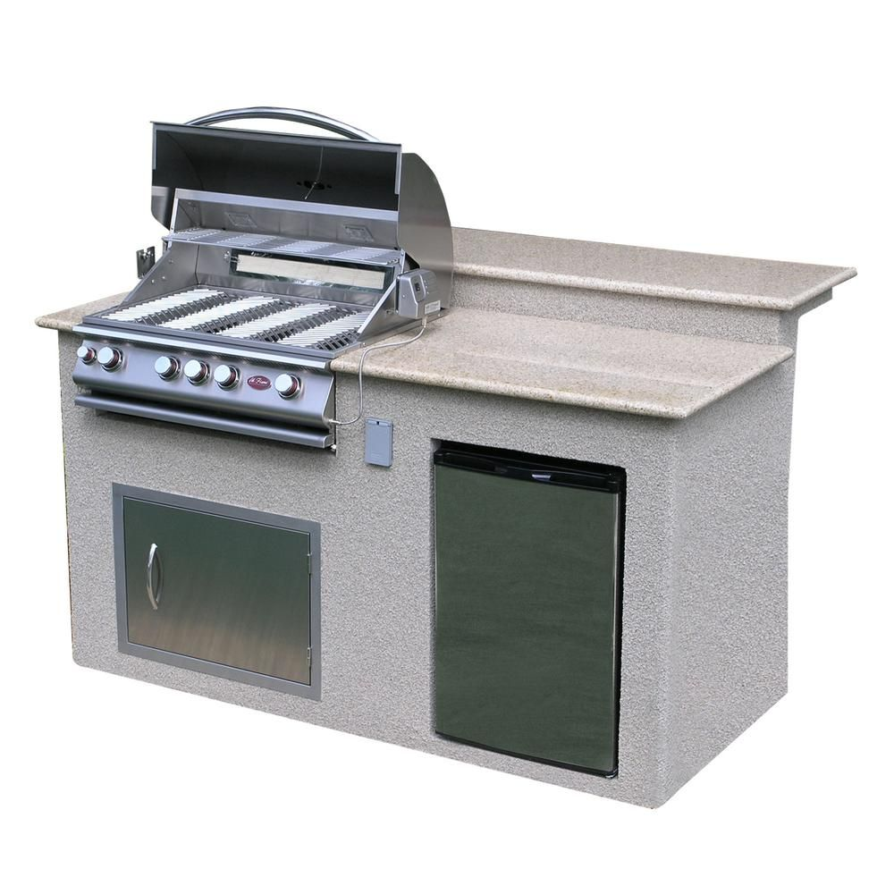 Cal Flame Outdoor Kitchen 4 Burner Barbecue Grill Island With Refrigerator E6016 The Home Depot Outdoor Kitchen Island Built In Grill Kitchen Island Frame