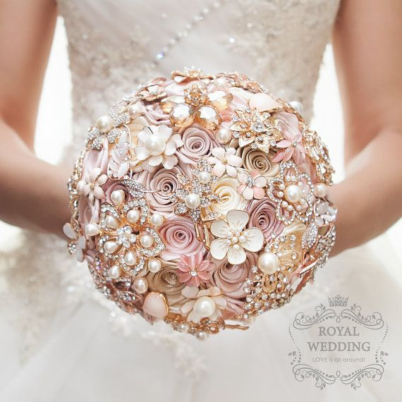 Cascade Fabric Brooch Bouquet Pink Wedding Bouquet Ivory Brides Rose Gold Broach Jewelry Bridesmaids Gift Flower Girl Bridal Brooch Bouquet #fantasticweddingbouquets