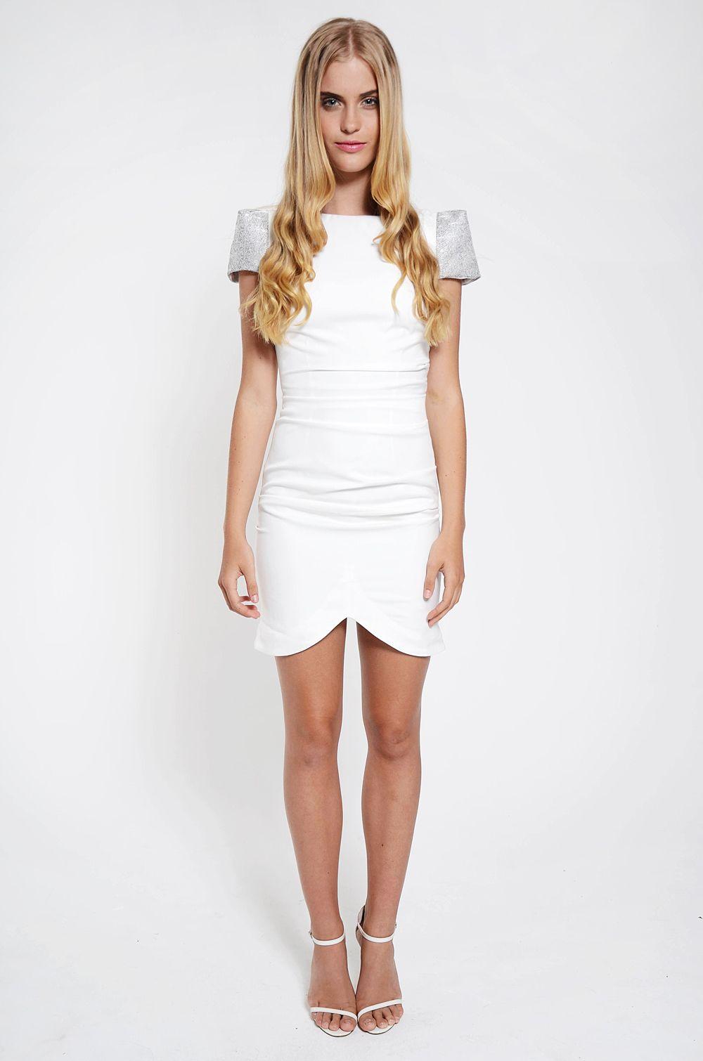 Dresses : Decadent Cap Sleeve Dress - White/ Metallic Silver