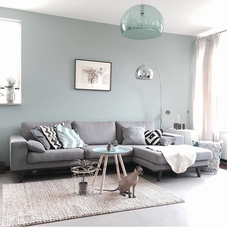 Mooie kleur op muur mooi vloerkleed leuk stijltje