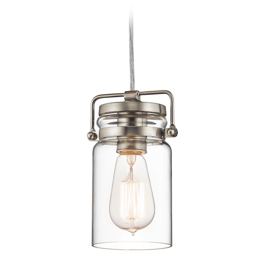 Kichler lighting brinley brushed nickel minipendant light with