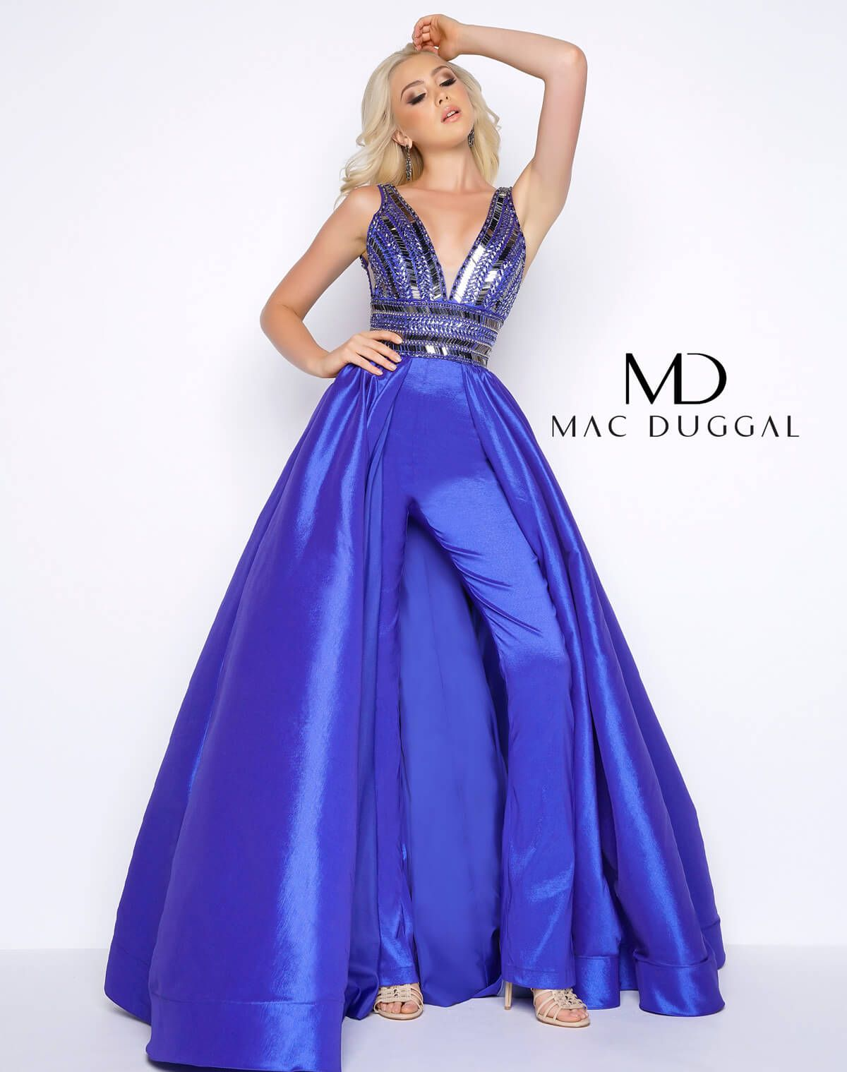 Satin jumpsuit with plunging vneckline beaded bodice and full