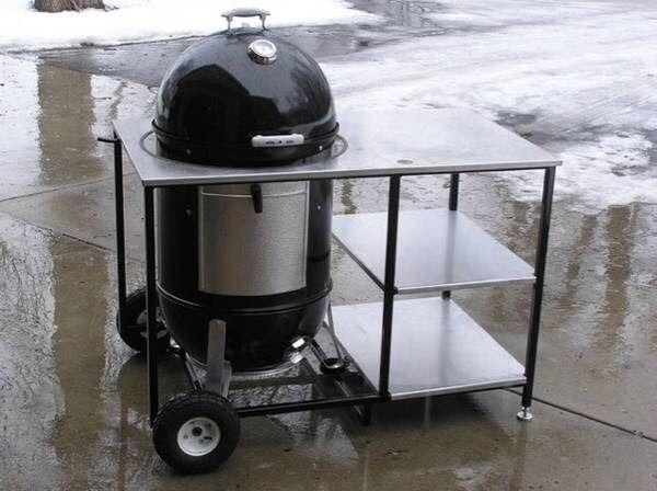 Wsm Cart Grill Table Weber Smokey Mountain Outdoor Kitchen Patio