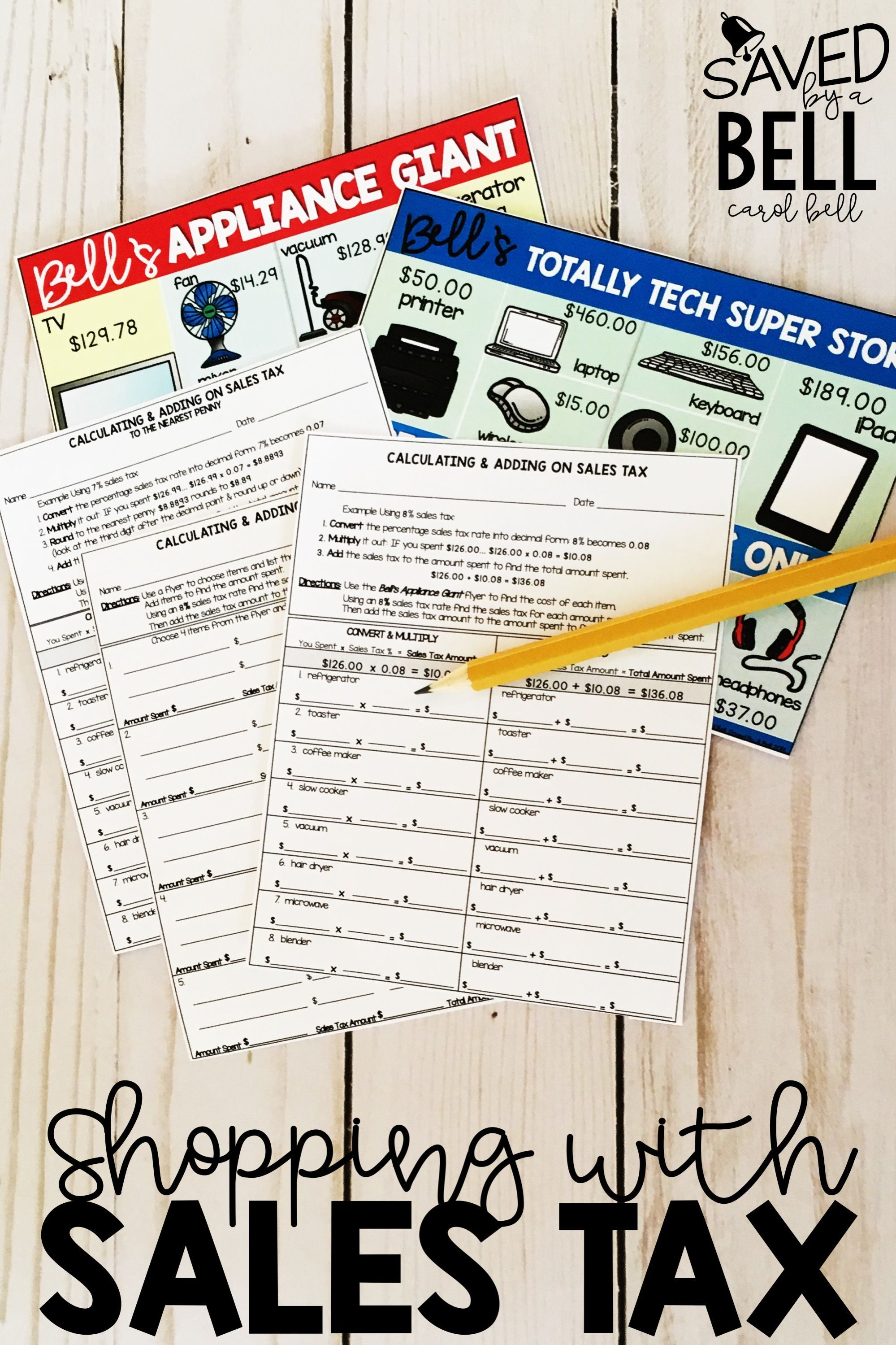 Sales Tax Worksheets Differentiated 2 Levels Distance Learning Math Practices Money Worksheets Math Printables