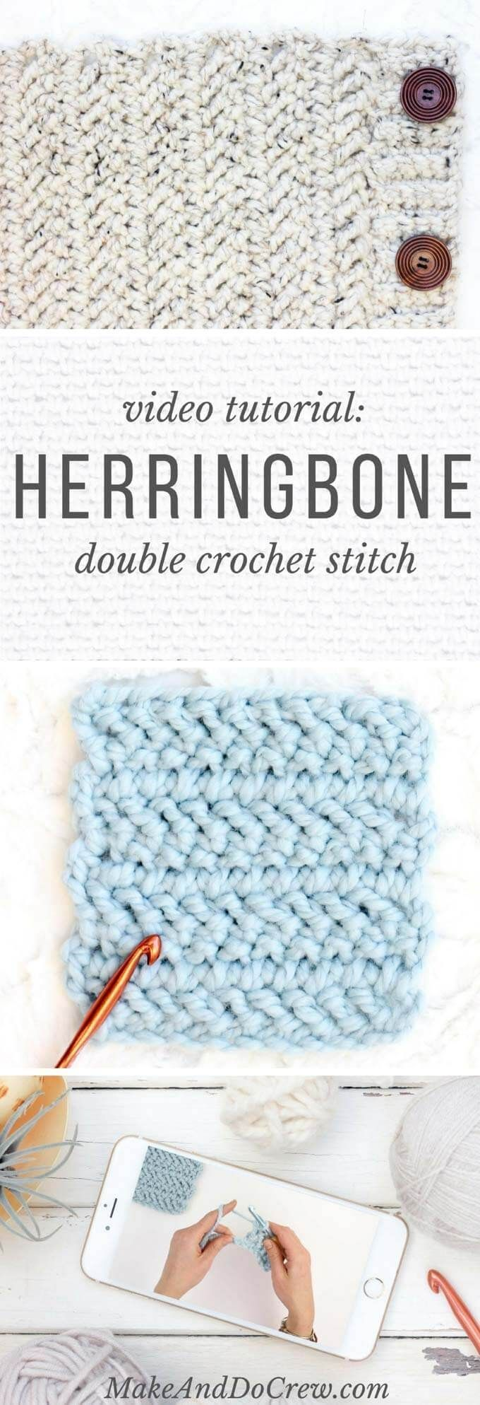 Video: How to Crochet the Herringbone Double Crochet Stitch | Tejido ...