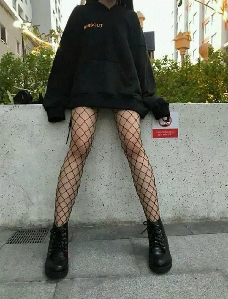 High Waist Tights Fishnet Stockings with Black Hoodie #baddiestyle #baddieoutfit #baddieswag