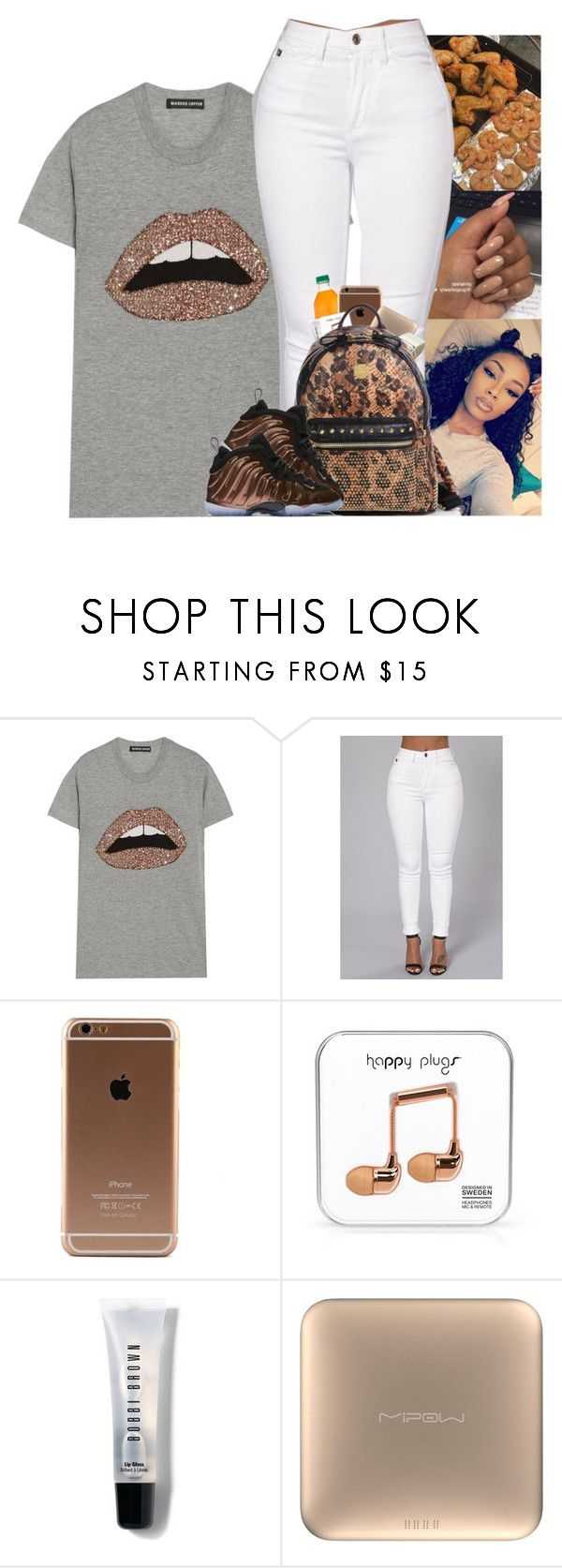 """"" by kennisha84 ❤ liked on Polyvore featuring Markus Lupfer, Happy Plugs, Bobbi Brown Cosmetics, MiPow, MCM and NIKE"