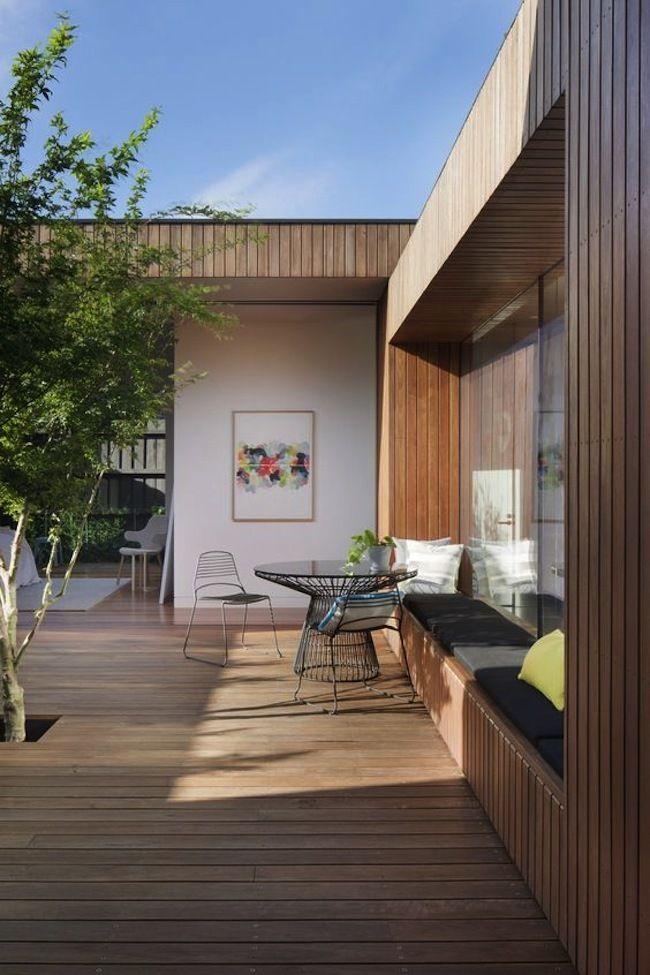 Terrasse en bois avec banc cour Pinterest Decoration and House