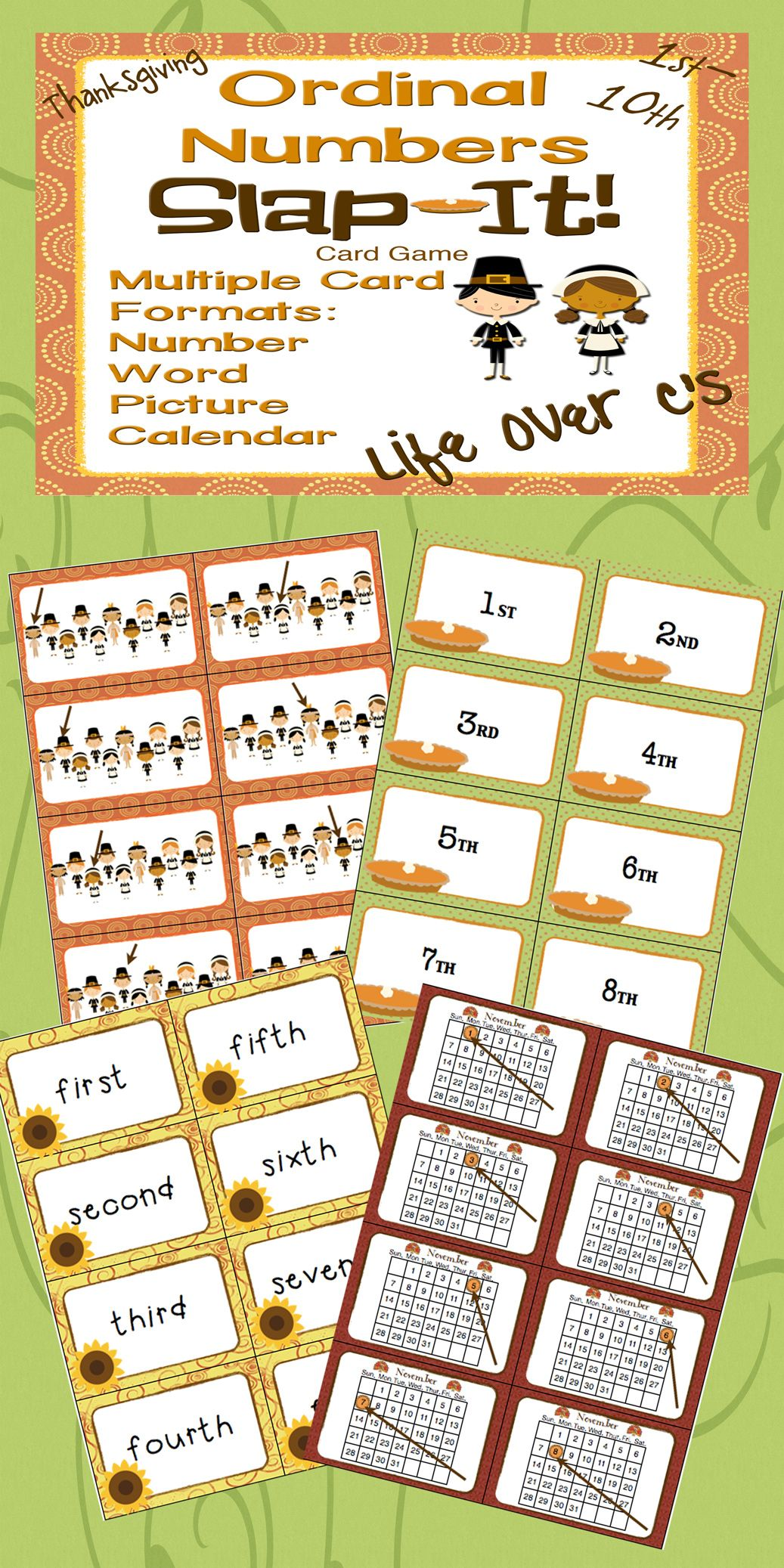 Ordinal Numbers 1st 10th Slap It Card Game Math Center Thanksgiving Theme