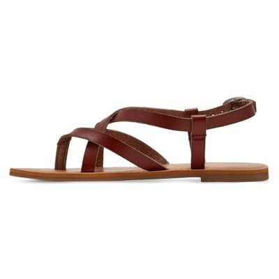 Girls' Lenita Dyeable Faux Leather Strappy Thong Sandals Cat & Jack - Brown 2, Girl's