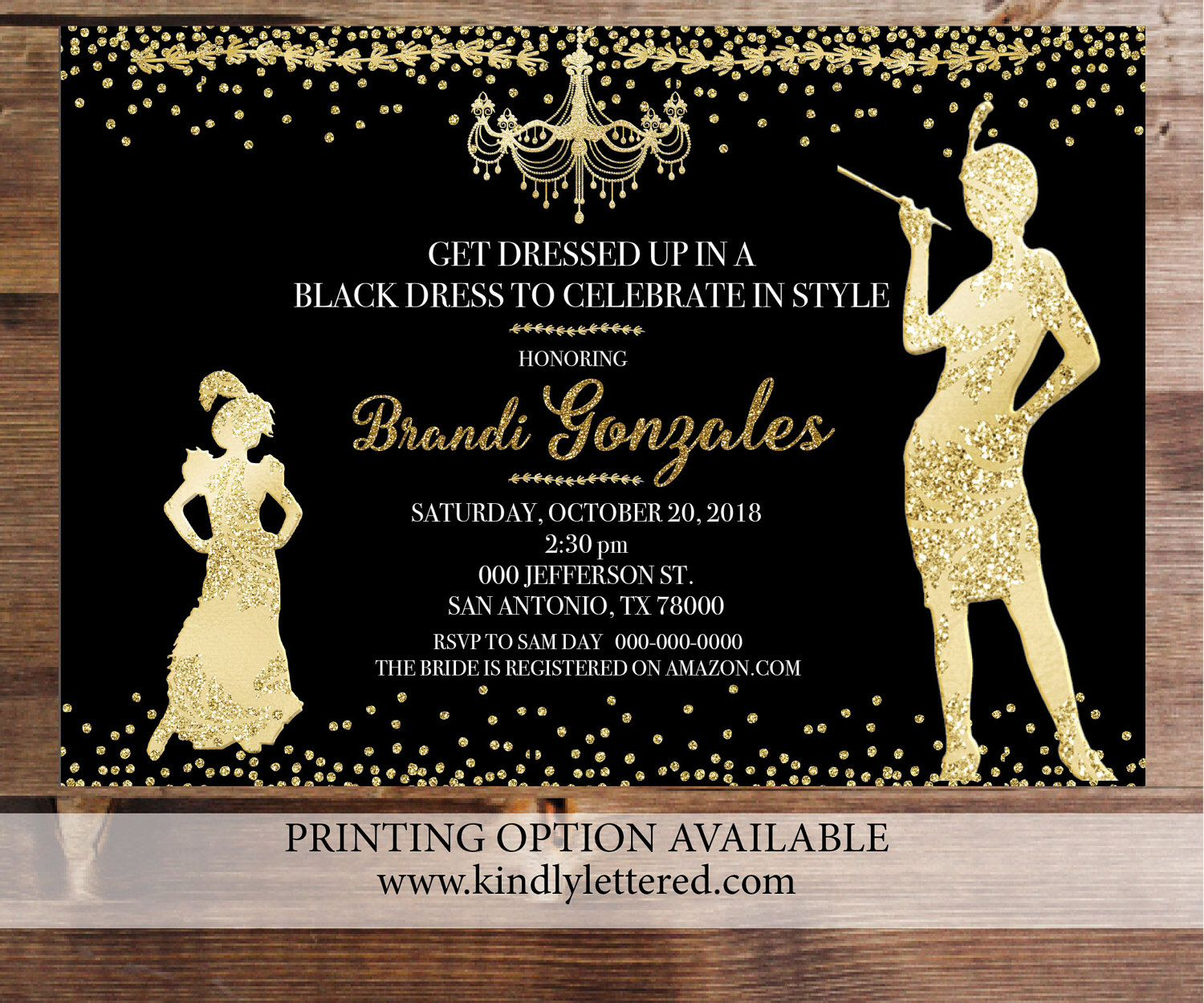 roaring 20s invitation art deco invitation great gatsby bridal shower bridal shower