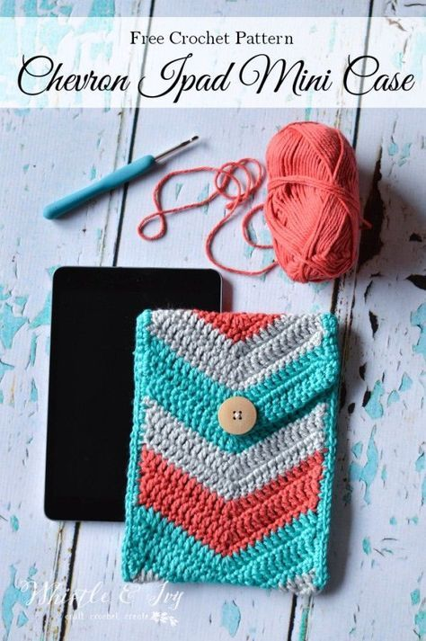 Chevron Crochet Tablet Pouch - Free Crochet Pattern | Pinterest