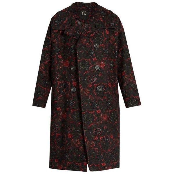 Y's By Yohji Yamamoto Floral-jacquard oversized coat ($926) ❤ liked on Polyvore featuring outerwear and coats