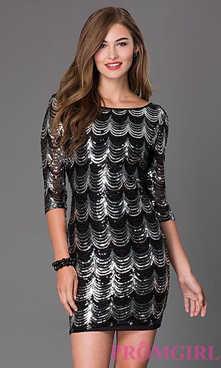 eb60586a4da9 Short Sequin Dress with 3/4 Length Sleeves at PromGirl.com ...