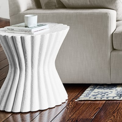 Gesso Scallop Side Table Side Table Burled Wood Coffee Table Luxury Coffee Table