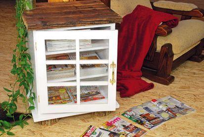 Drevená skrinka na časopisy alebo knihy