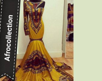 purple dashiki gown by AFROCOLLECTION2015 on Etsy