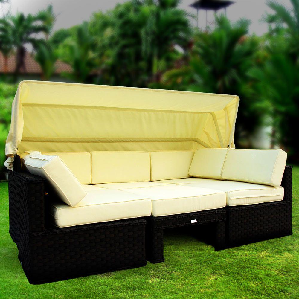 Luxo Himara Wicker Outdoor Modular Sofa Bed - Black
