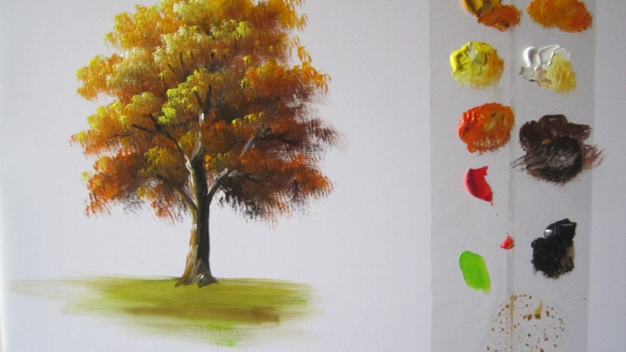 How To Paint A Tree In Acrylics Lesson 1 Acrylic Painting Trees