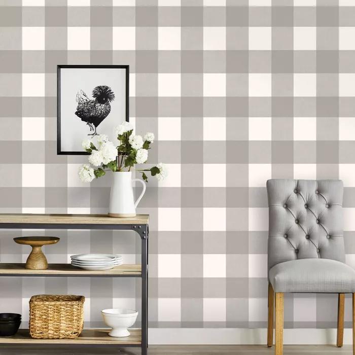 Buffalo Plaid Peel Stick Wallpaper Threshold In 2020 Peel And Stick Wallpaper Plaid Wallpaper Nursery Accent Wall