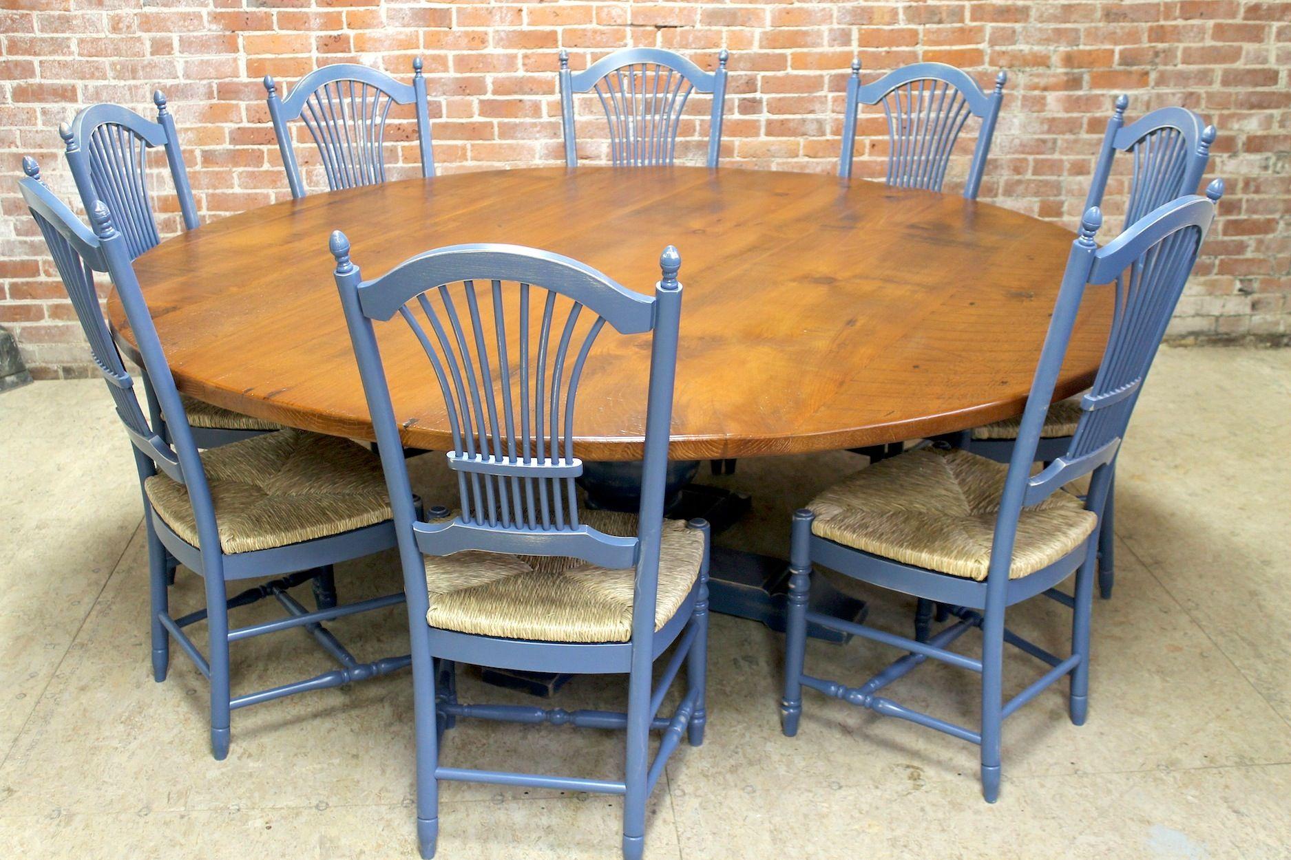 84 Round Oak Farm Table With Tuscany Pedestal Round Farmhouse