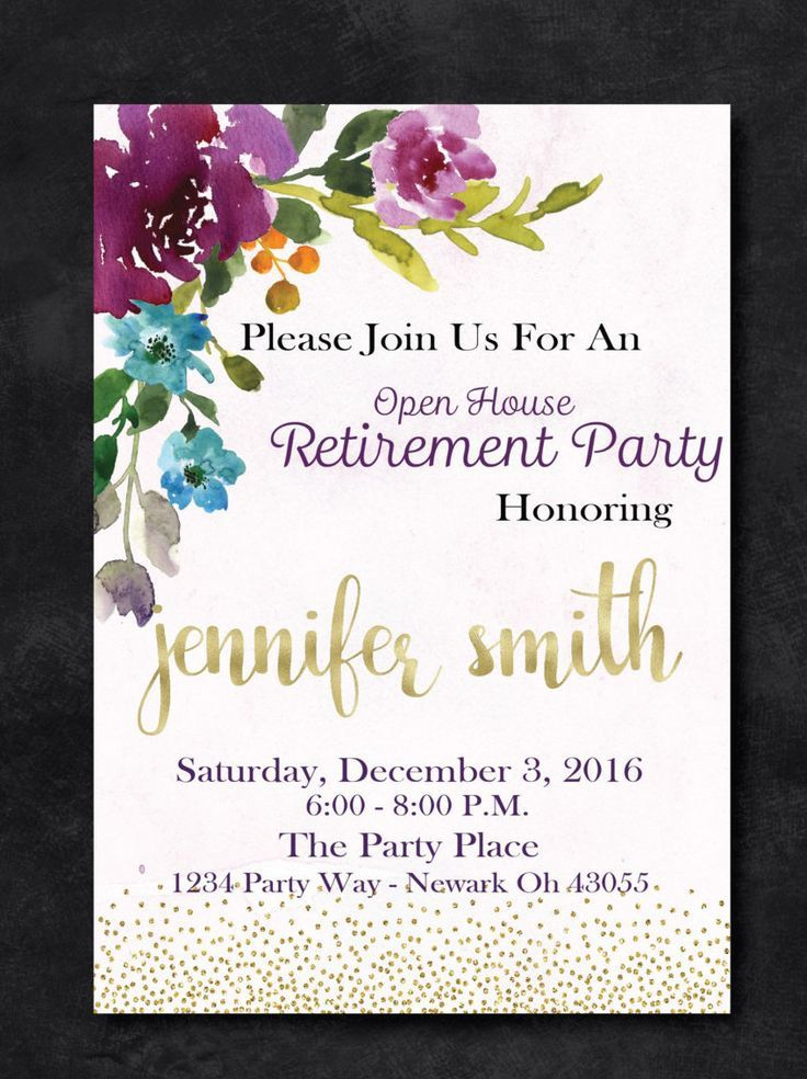 Retirement Party Floral Invitation Purple And Gold