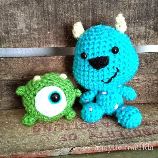 Crochet Mike and Sully softies from Monsters Inc | Crochet ...