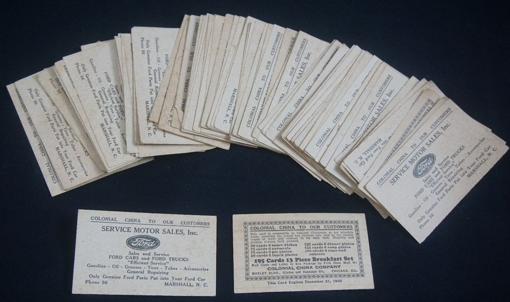 1930 Ford Motor Business Card Colonial China Giveaway (Marshall NC ...