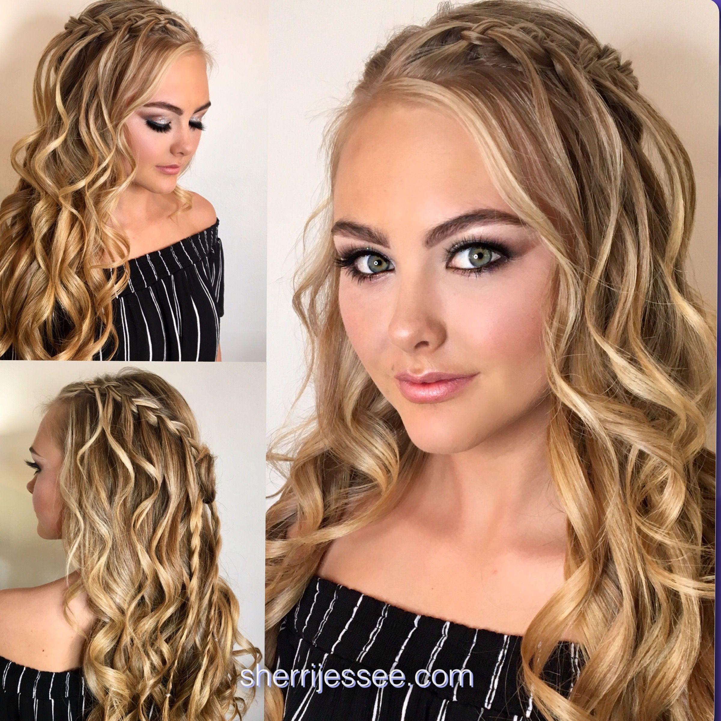 #prom #promhair #makeup #halfuphalfdown #curls #waterfallbraid #3strandbraid #blonde #sherrijessee #sherriready