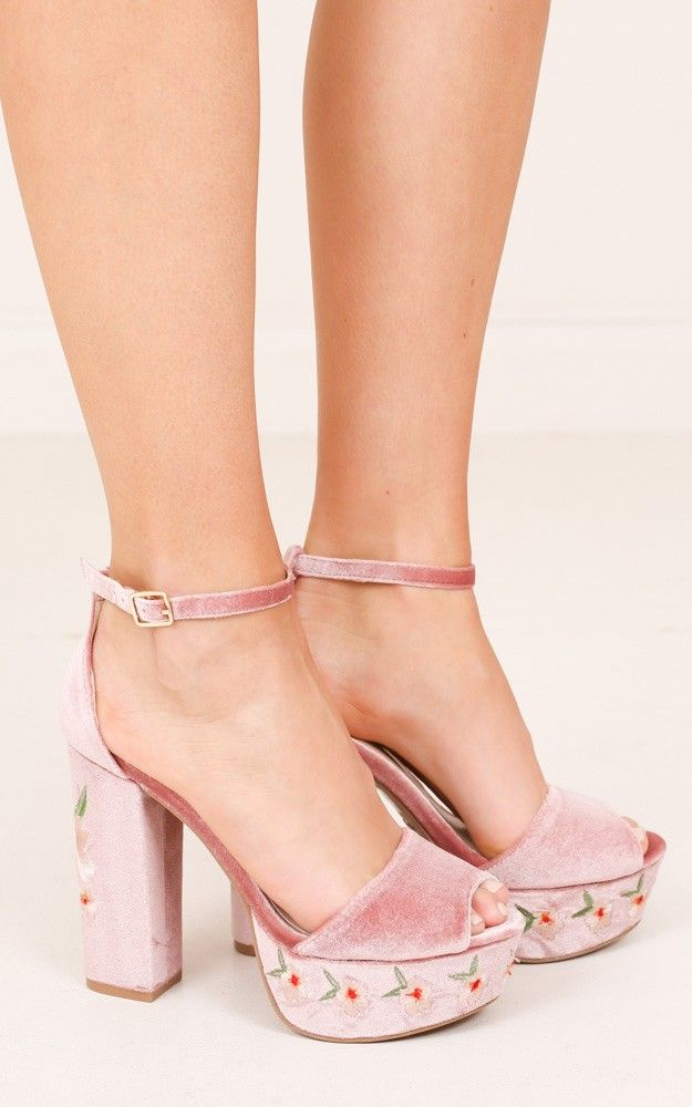 fa63d59bbde Qupid shoes! Crush in blush velvet. Platform and block heel. Embroidered.  Love!