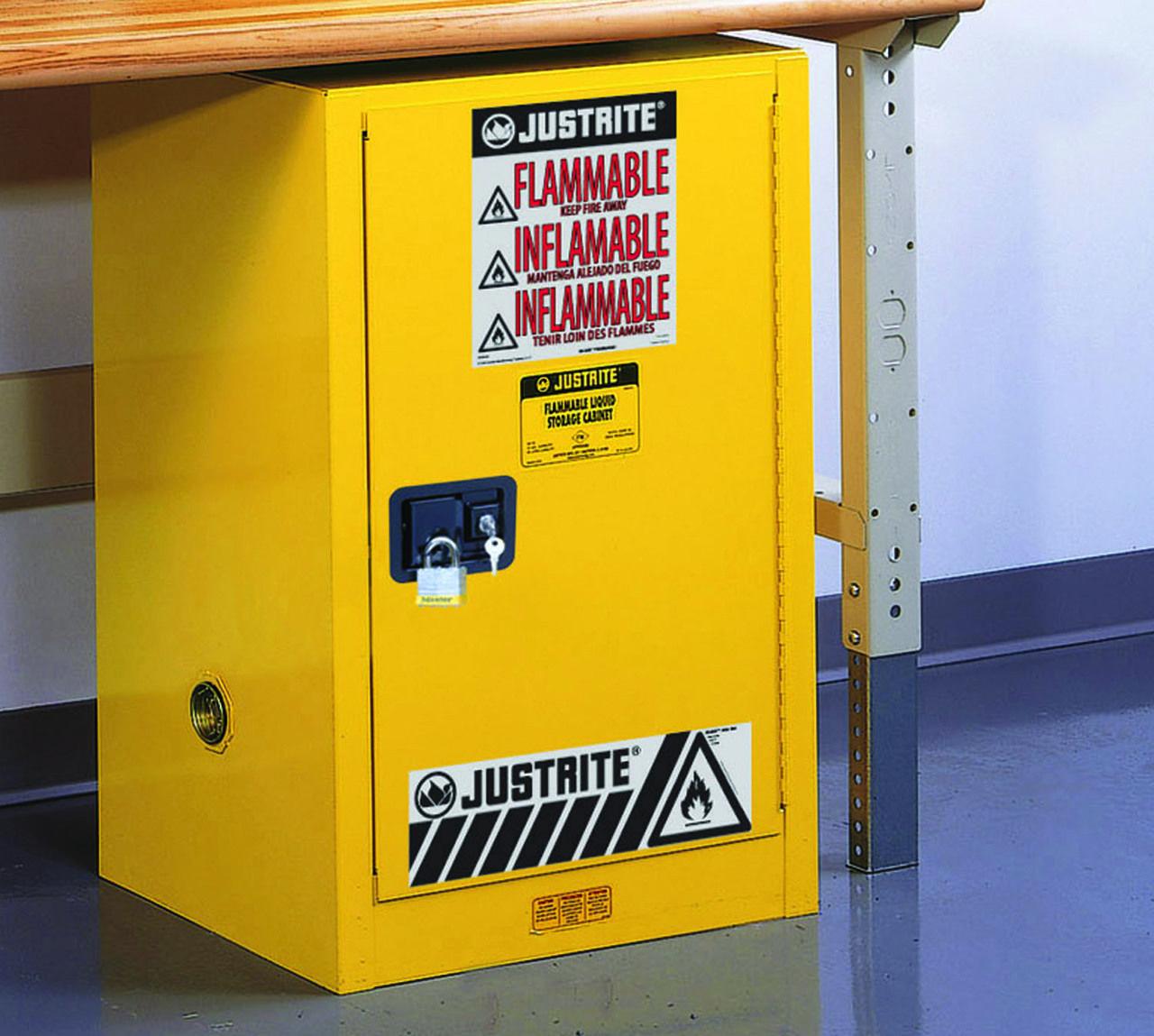 Justrite 891220 12 Gallon Safety Cabinet Compac Sure Grip Ex Self Close Storage Utility Storage Cabinet Buy Cabinets