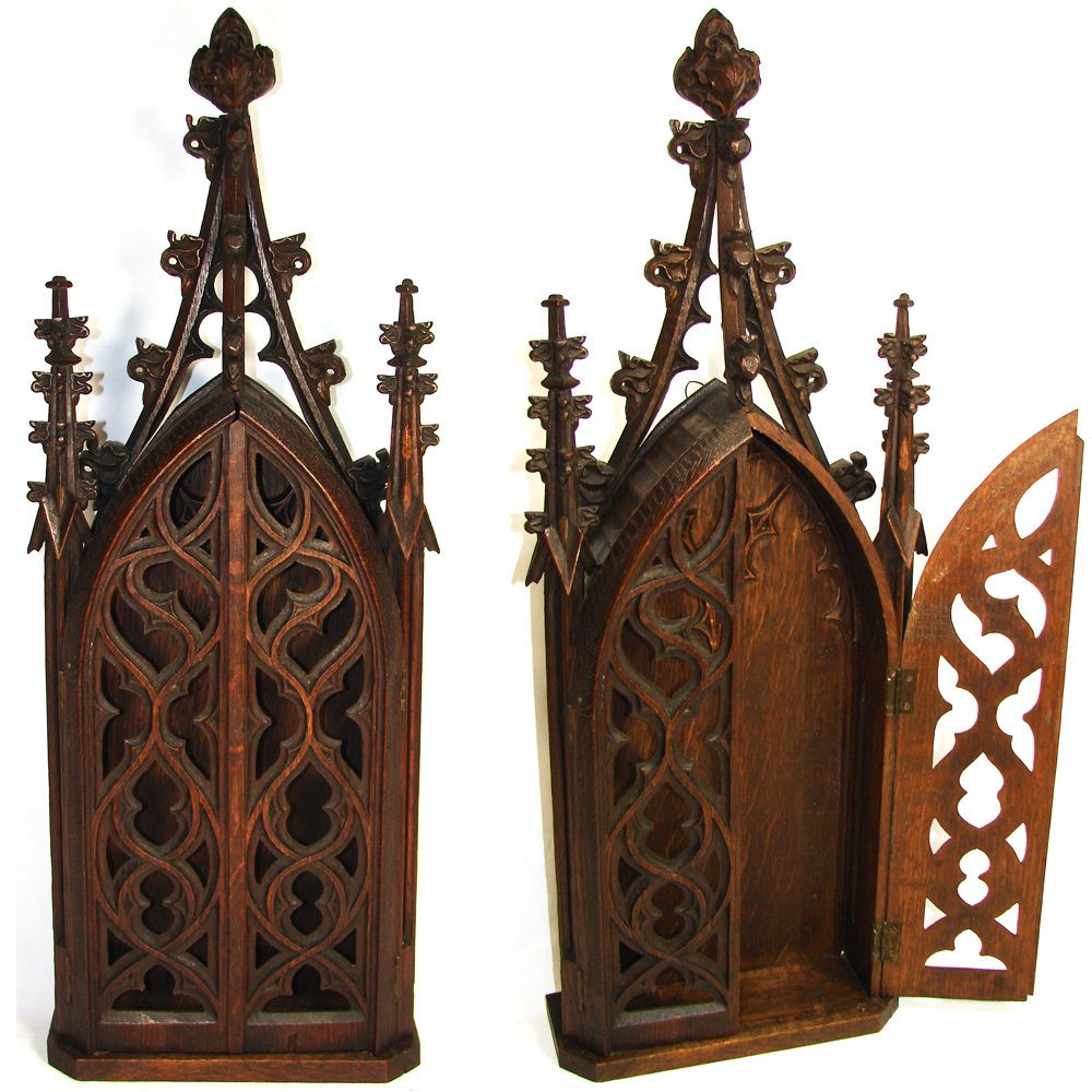 Rare Antique Gothic Style Carved Wood 28 Niche Or Cabinet