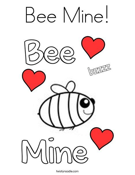 Bee Mine Coloring Page Twisty Noodle Bee Mine Coloring Pages Valentines Day Coloring Page