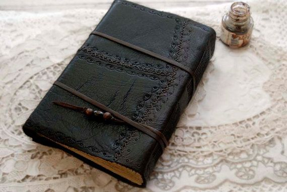The Book of Words Black Leather Journal Tea by bibliographica