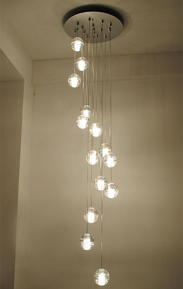 Modern Stairwell Led Chandelier Lighting Large Bubble Crystal Ball Pendant Lights Stairway Res De Cristal
