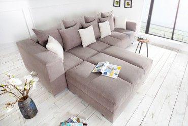 Wohnzimmer Kissen ~ Design xxl sofa big sofa island soft baumwolle greige inkl kissen