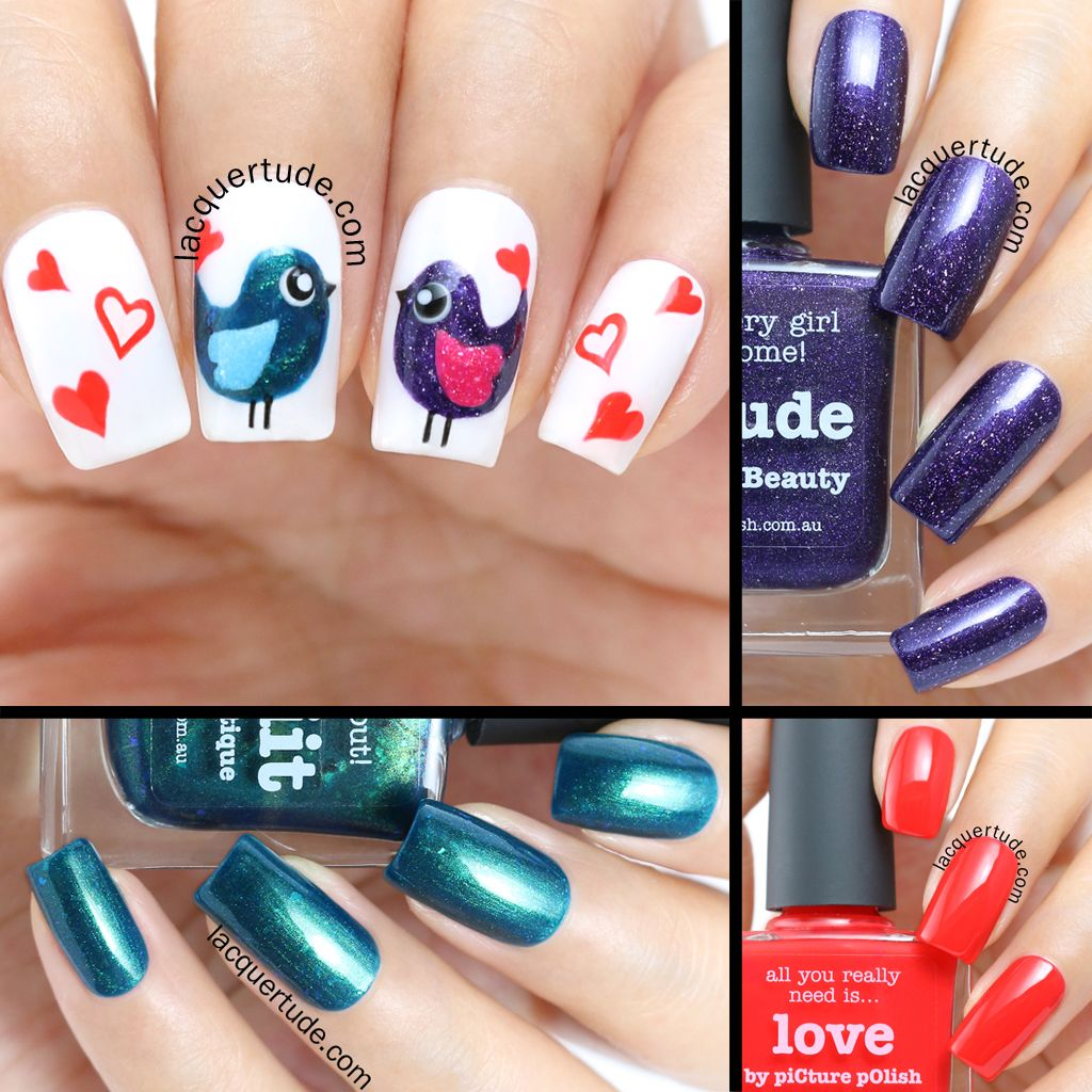 Valentine\'s Day Love Birds Nail Art & Tutorial: Feat. piCture pOlish ...