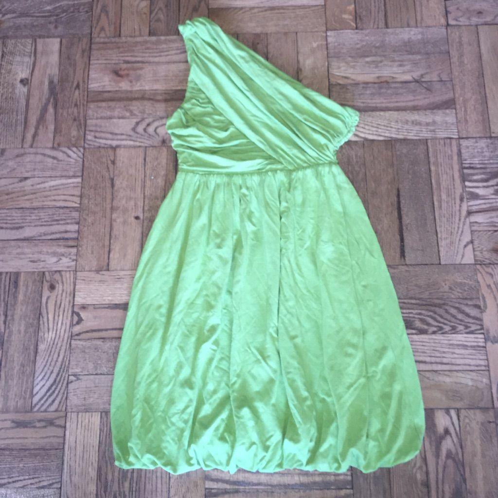 Alice + Olivia Lime Green One Shoulder Dress, Xs