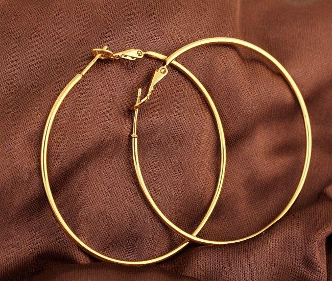 18K Gold Plated Copper Earrings Fashion Large Hoop Earrings Gift for Women