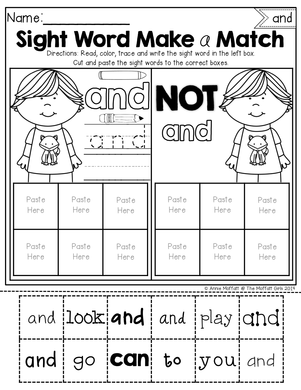 Sight Word Make A Match No Prep Packet Pre Primer