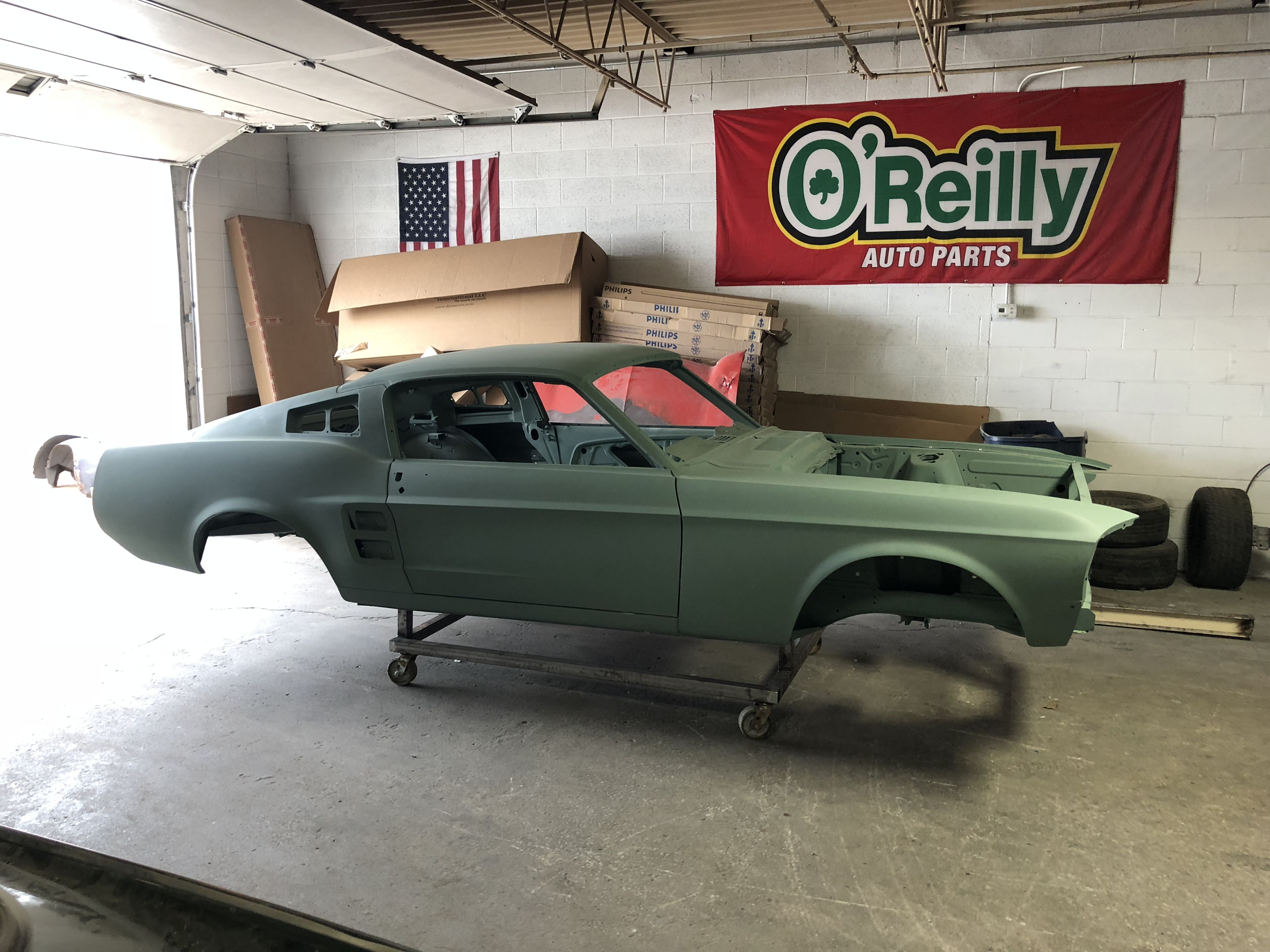 All new all metal 1967 ford licensed mustang fastback body shell from r3 performance unlimited in ca is it for a build restoration