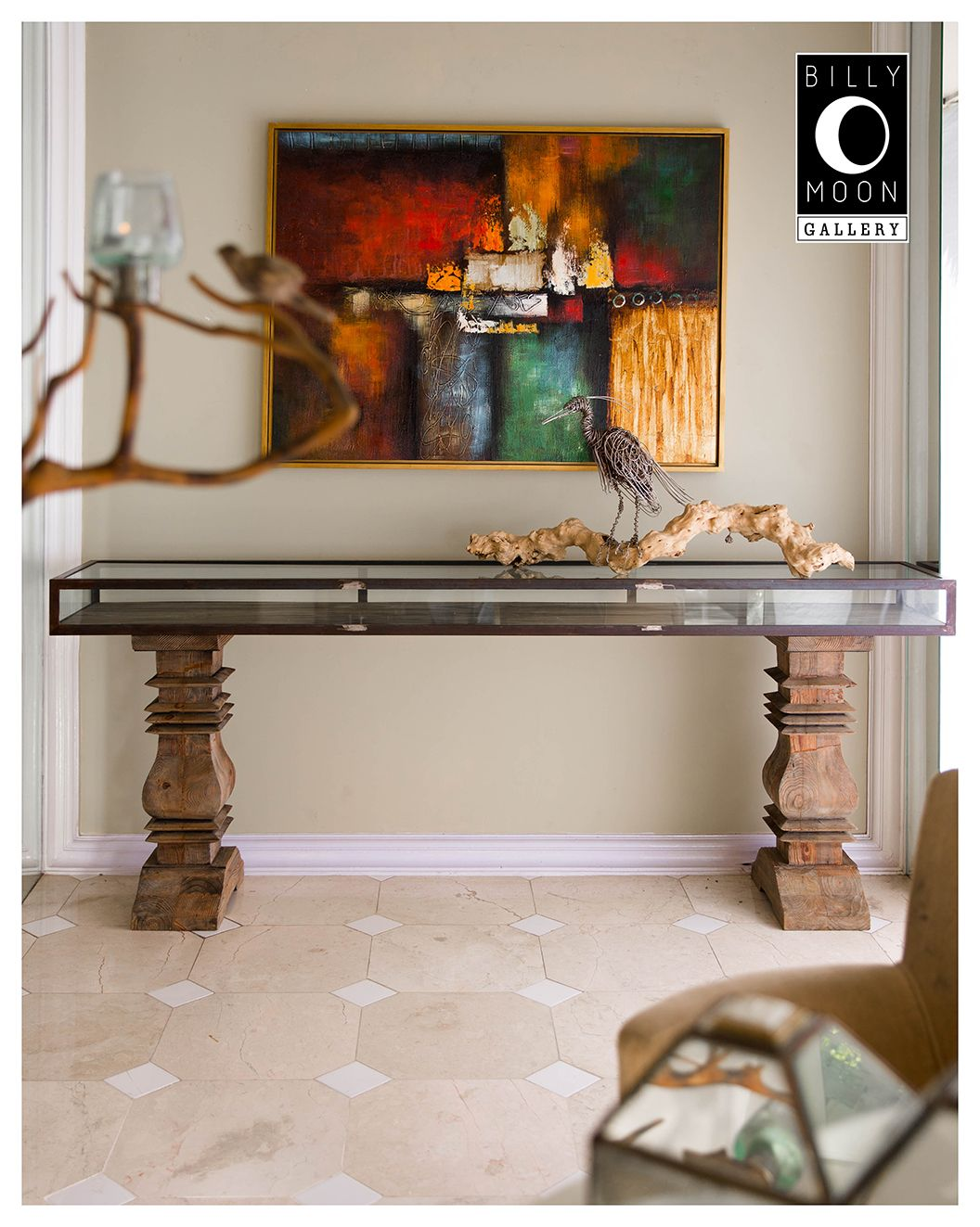 Display Case Console. Steel Frame And Glass Display. Console Table Legs  Carved From Imported USA Pine Wood. FT0039