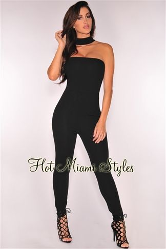 2a008388a6 Black Strapless Choker Jumpsuit clubwear cocktail Women s clothing hot  miami styles hotmiamistyles hotmiamistyles.com
