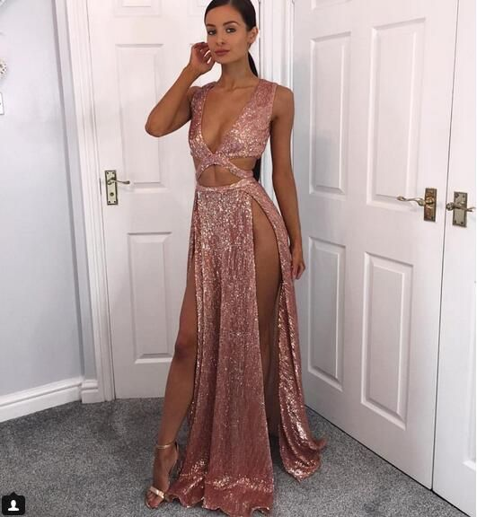 38f44abb Sexy Deep V-neck Rose Gold Prom Dresses Deep V-neck Thigh Split Long  Evening Gowns Cheap Formal Party Wear