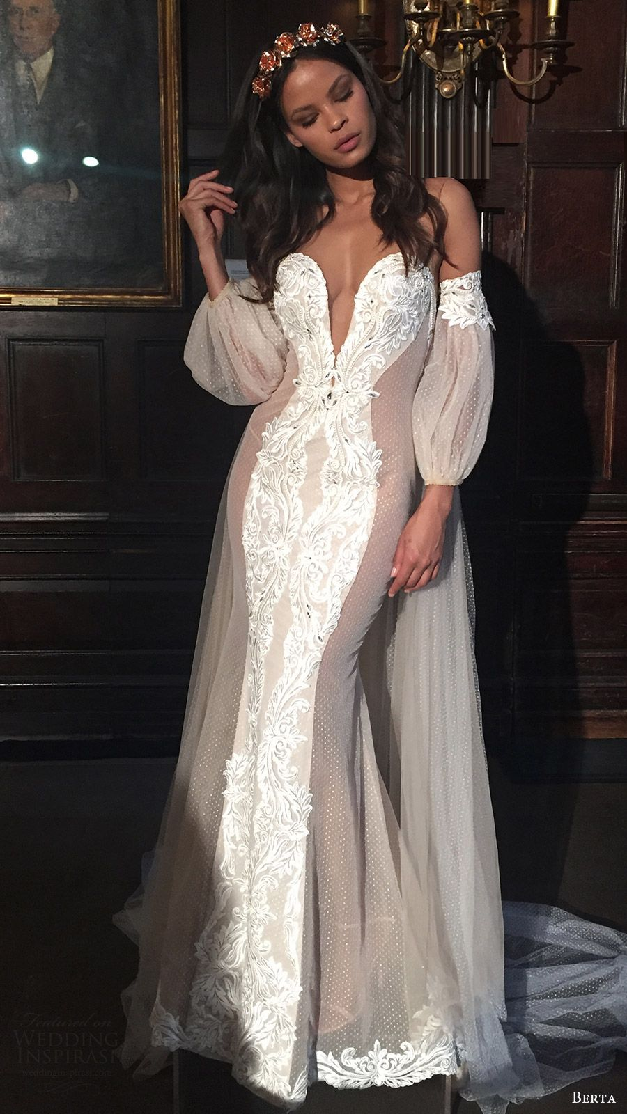 Berta Bridal Fall 2016 Off Shoulder Bi Sleeves Split Sweetheart Mermaid Wedding Dress