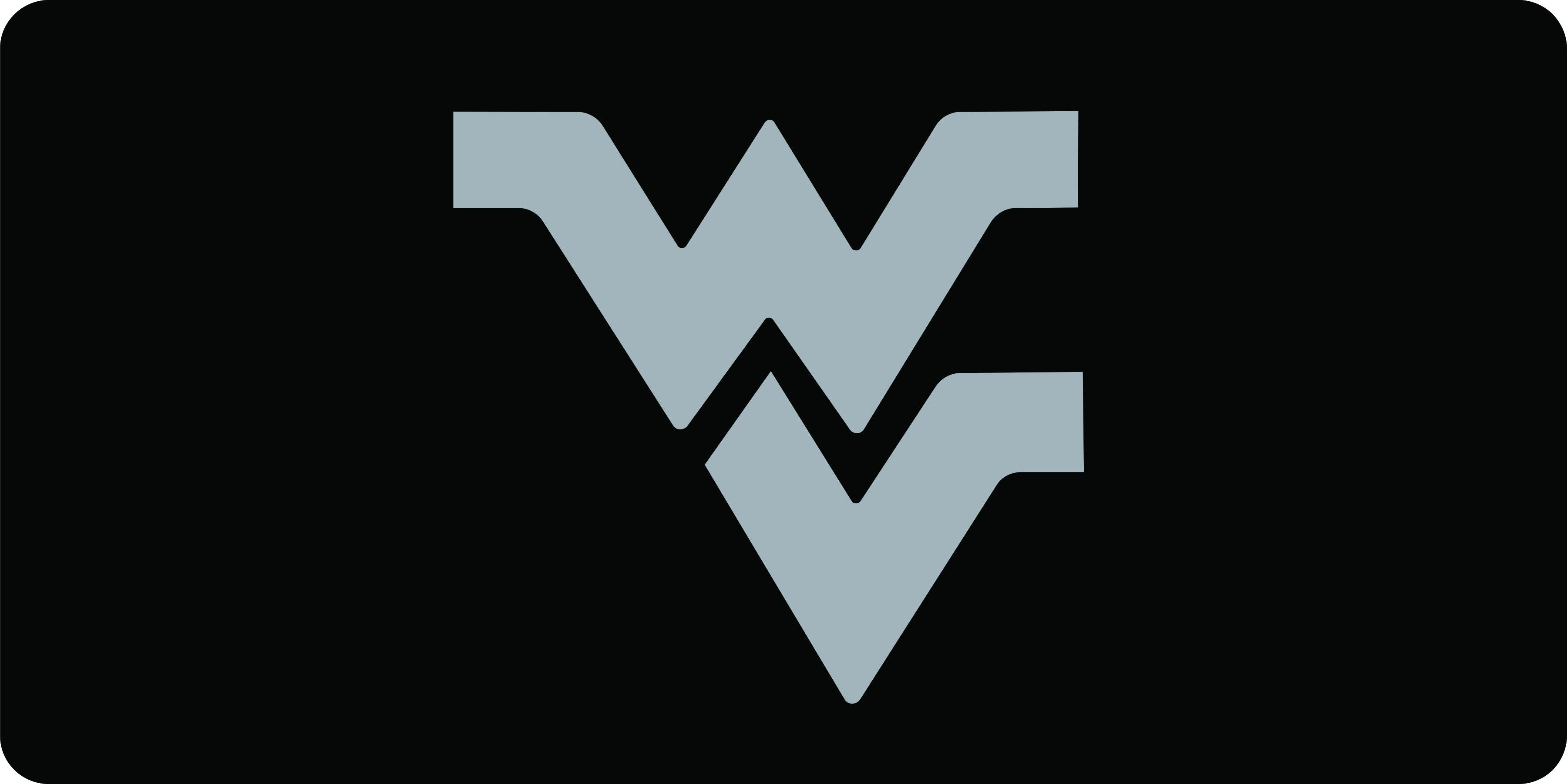 Wvu Silver Wv Logo Black Mirror License Plate Black Mirror Wv Logo License Plate [ 1804 x 3600 Pixel ]