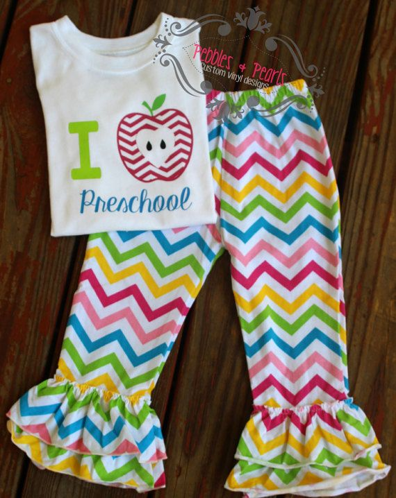 Back to school outfit  I HEART PRESCHOOL  PRE-K outfit first day of school apple  monogram ready to ship 0f82daa99a