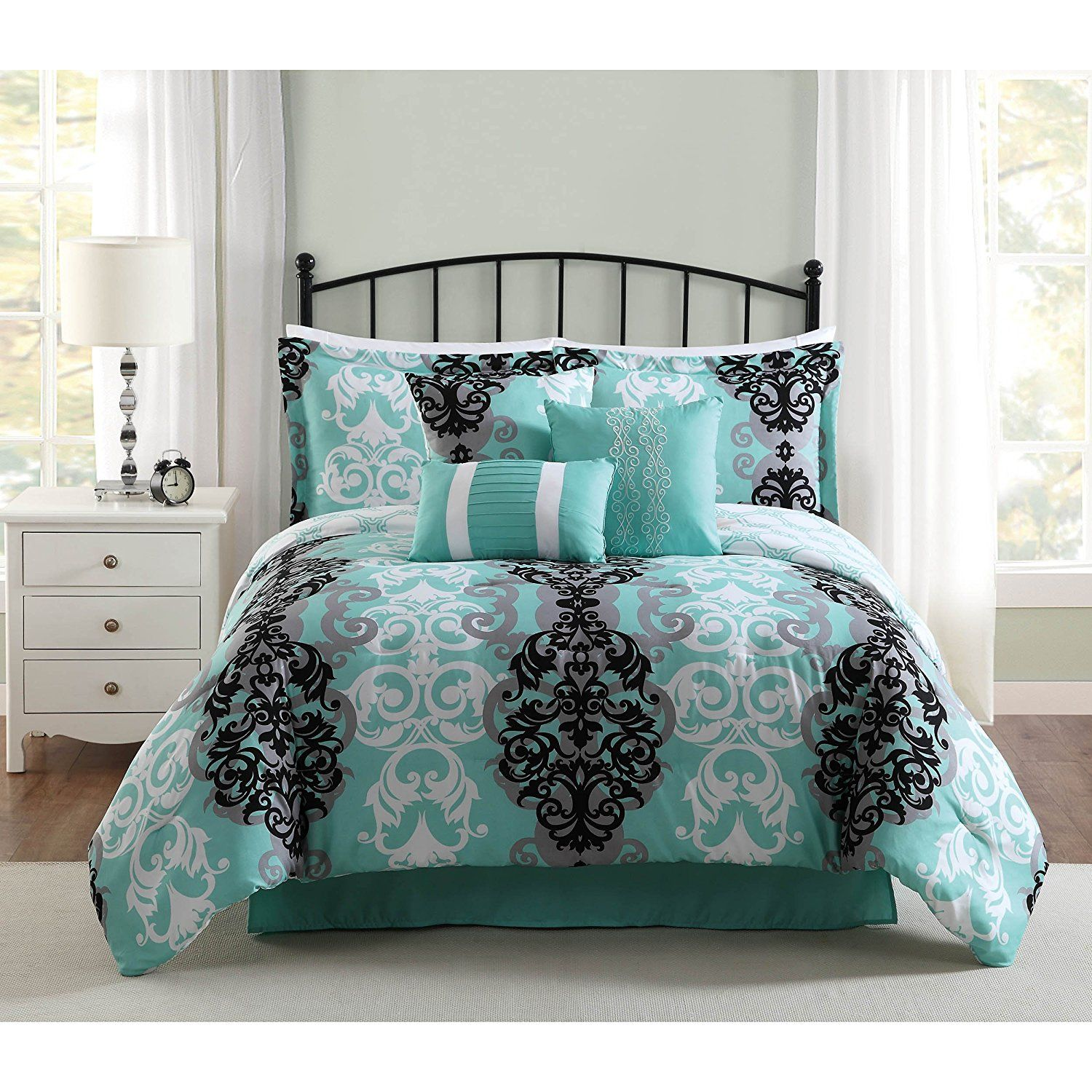 DelbouTree Charcoal Gray Turquoise Bedding Sets Sale